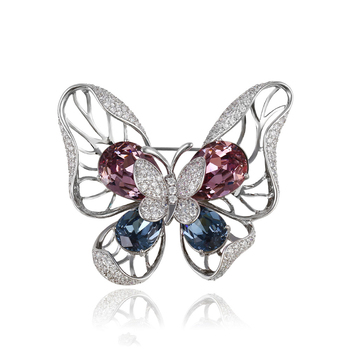00069 Xuping fashion luxury jewelry silver color butterfly design crystal brooch for women