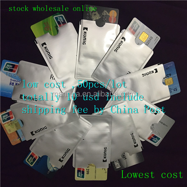 on promotion customized card sleeves Aluminum foil paper id Card Holder rfid blocking secure credit card sleeve in stock
