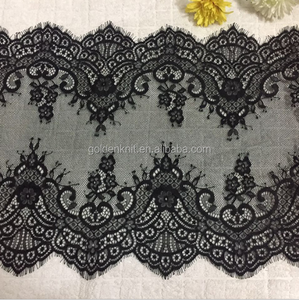 Golden Knit 37cm Width 100%Nylon Scalloped Elegant Eyelash Lace White and Black J37120#