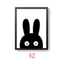 Современные минималистичные скандинавские черно-белые кавайные животные, большой художественный принт, постер, детская комната, домашний ...(Китай)