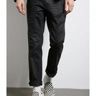 Royal wolf denim jeans manufacturer hand made wrinkle whiskers black distressed jeans in dubai