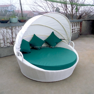 outdoor hotel round rattan daybed with canopy
