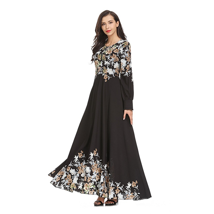 B&Y Supply Wholesale Long Sleeve Printed Winter Abaya Muslim Dress For Women