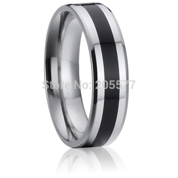 fashion enamel jewelry 6mm mens pure titanium wedding bands rings