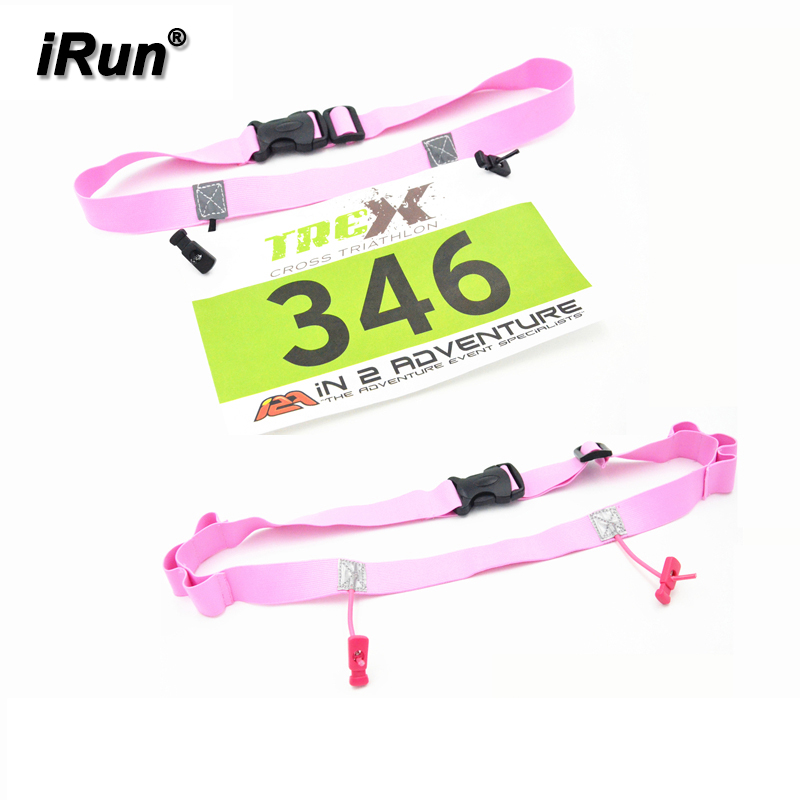 Race Number Gel Belt mit 6 Gel Loops - Running Race Belt mit Number Holder - Ideal für Marathon / Halbmarathon / Triathlon - Pink