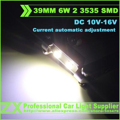 100 шт. 1 лот 39 мм из светодиодов canbus 6 Вт высокой мощности фестона 2 3535 СМД c5w стайлинга автомобилей интерьера купол лампы для чтения ошибок нет ошибка