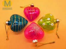 Heart Shaped Colourful Glass Christmas Tree Ornaments