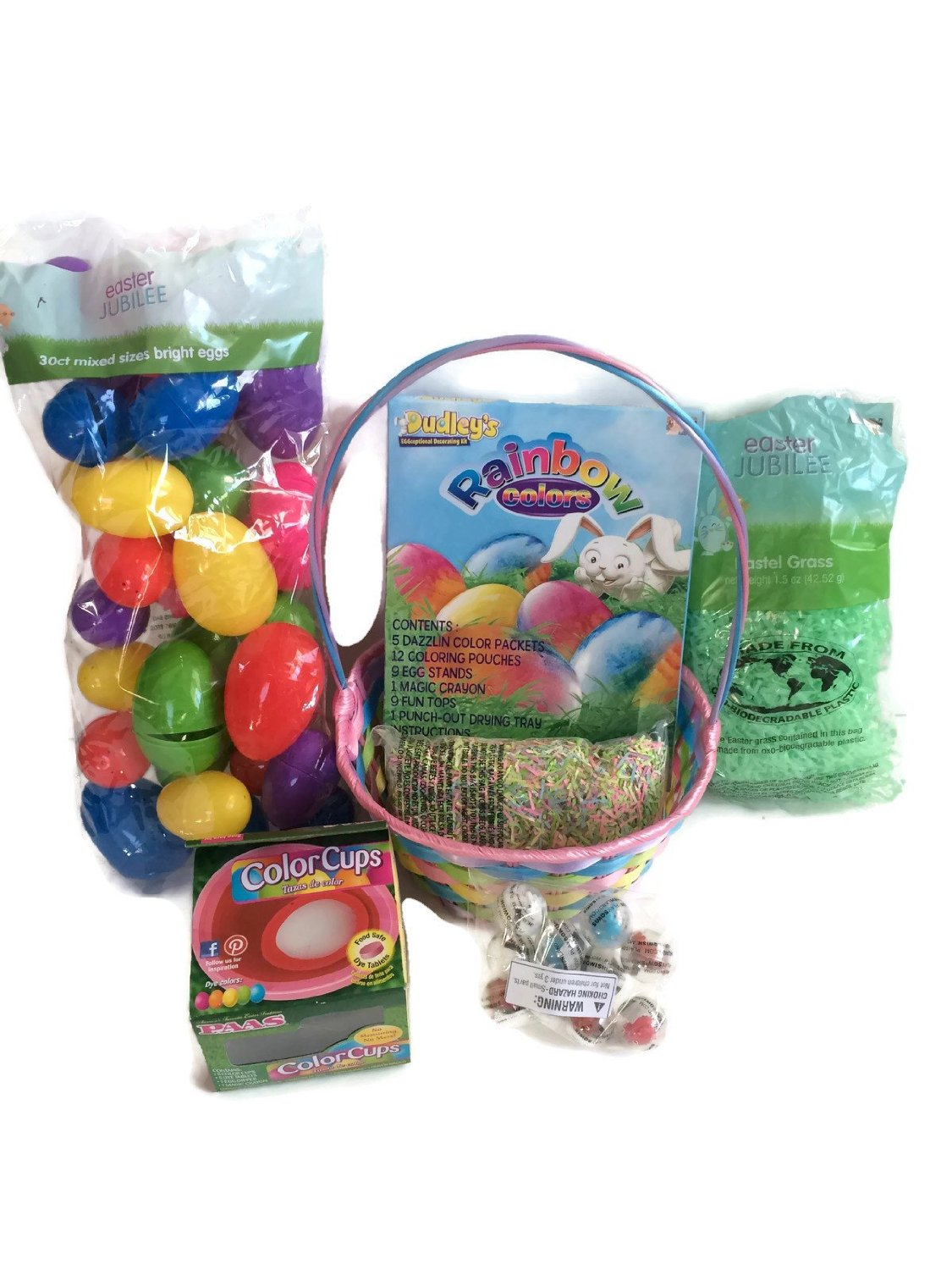 Easter Basket Egg Hunt & Egg Dye Bundle: 7 Items: Easter Basket, Easter Grass, Confetti, Rainbow Egg Dye Kit, Easter Eggs, Color Cups, Plus Filler Toys