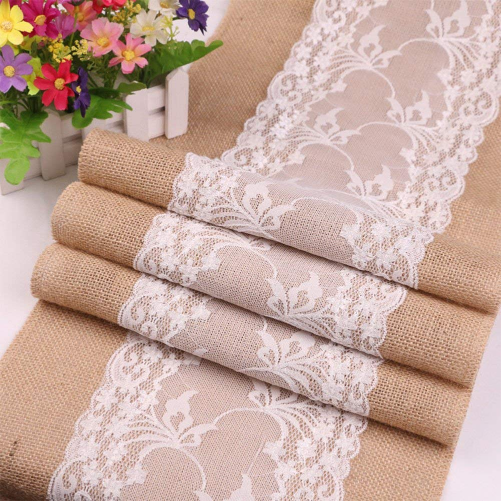 Haperlare 12 x 108 inch Natural Vintage Burlap Table Runner with Lace Jute Tablecloth Hessian Table Runner Burlap Tablecloth for Country Outdoor Wedding Party Home Decorations (White3)