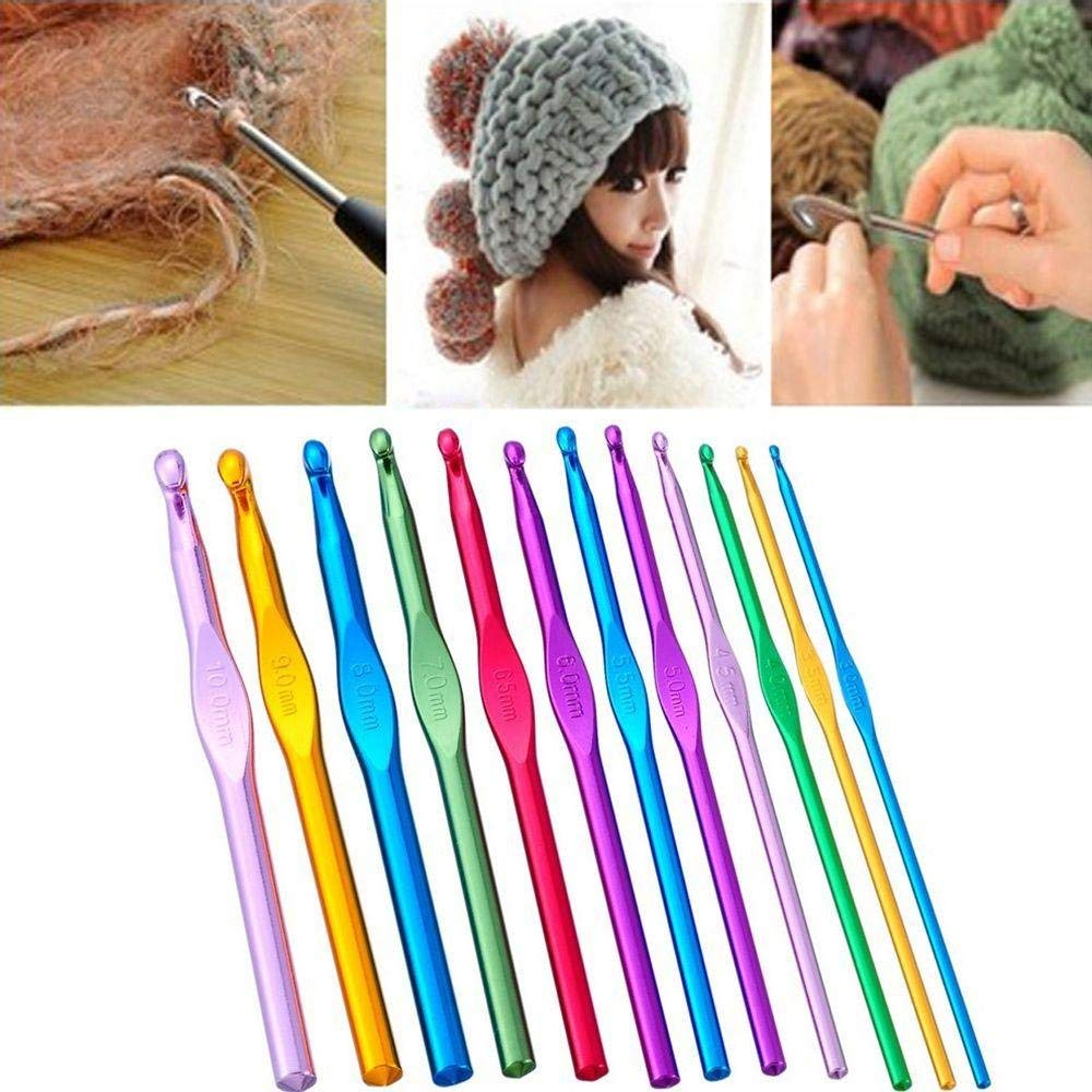 Cloudga 12pcs/Set 2mm-10mm New Multicolor Crafts Sewing Tools Crochet Hooks Knitting Needles Kit Aluminium