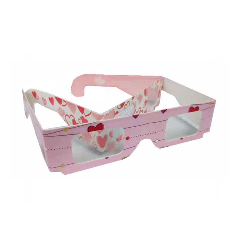 Promotional Gifts Item with Logo Custom 3D Glasses Hologram Paper Diffraction Glasses , Heart Diffraction Glasses