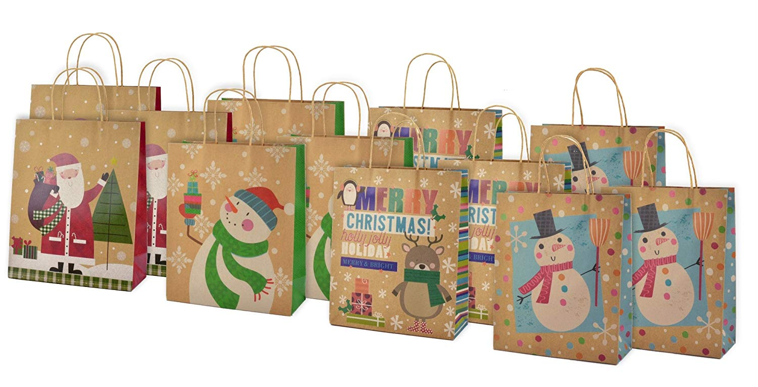 Christmas Large Kraft Gift Bags 12 Pack