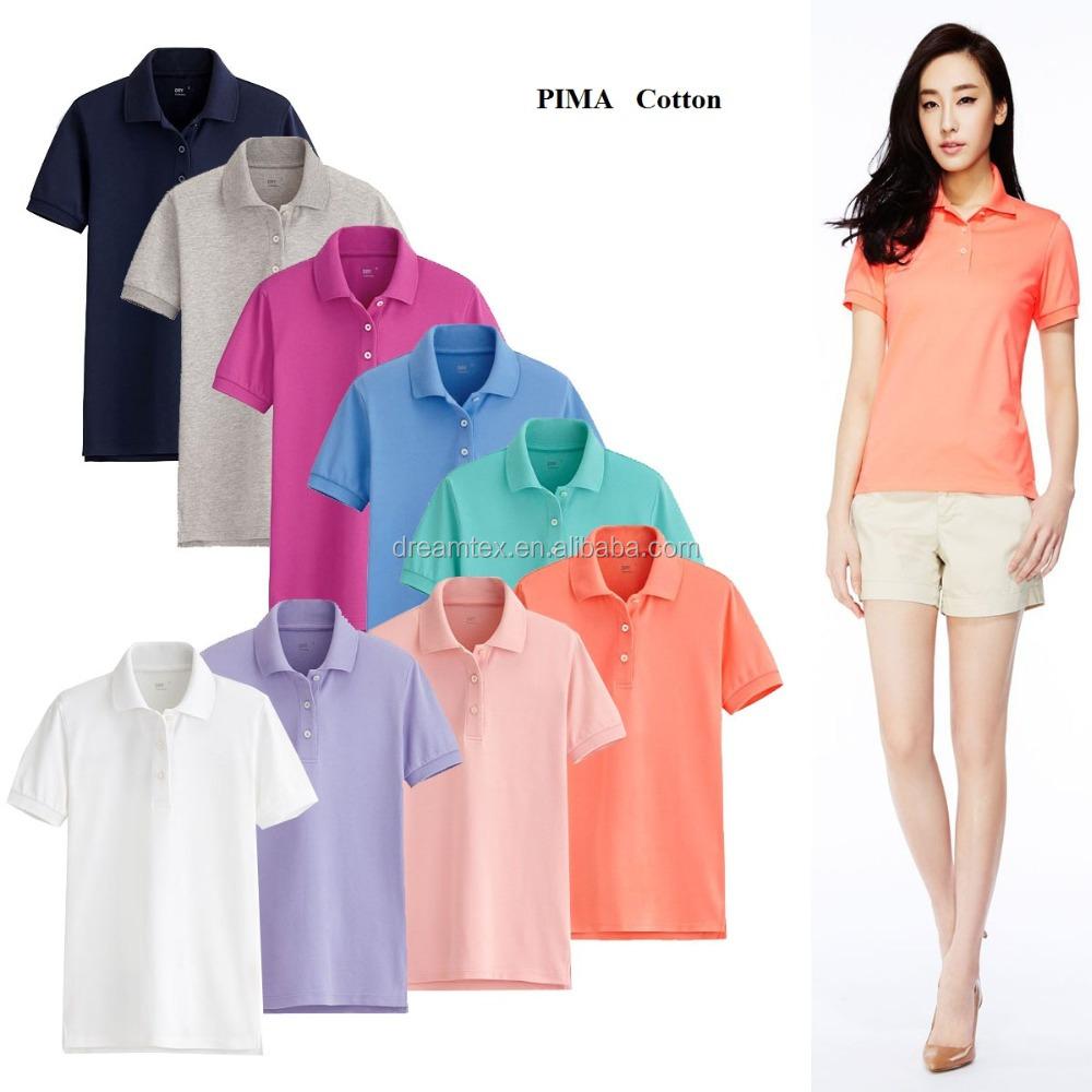 Pima katoen classic custom polo t shirt vrouwen polo t Customized polo t shirts
