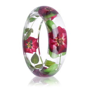 Red rose flowers resin bracelet dried flower resin bangle