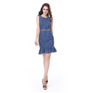 Simple Fast Fashion Women Garment Supplier in Guangzhou Denim Jeans Girl Dress