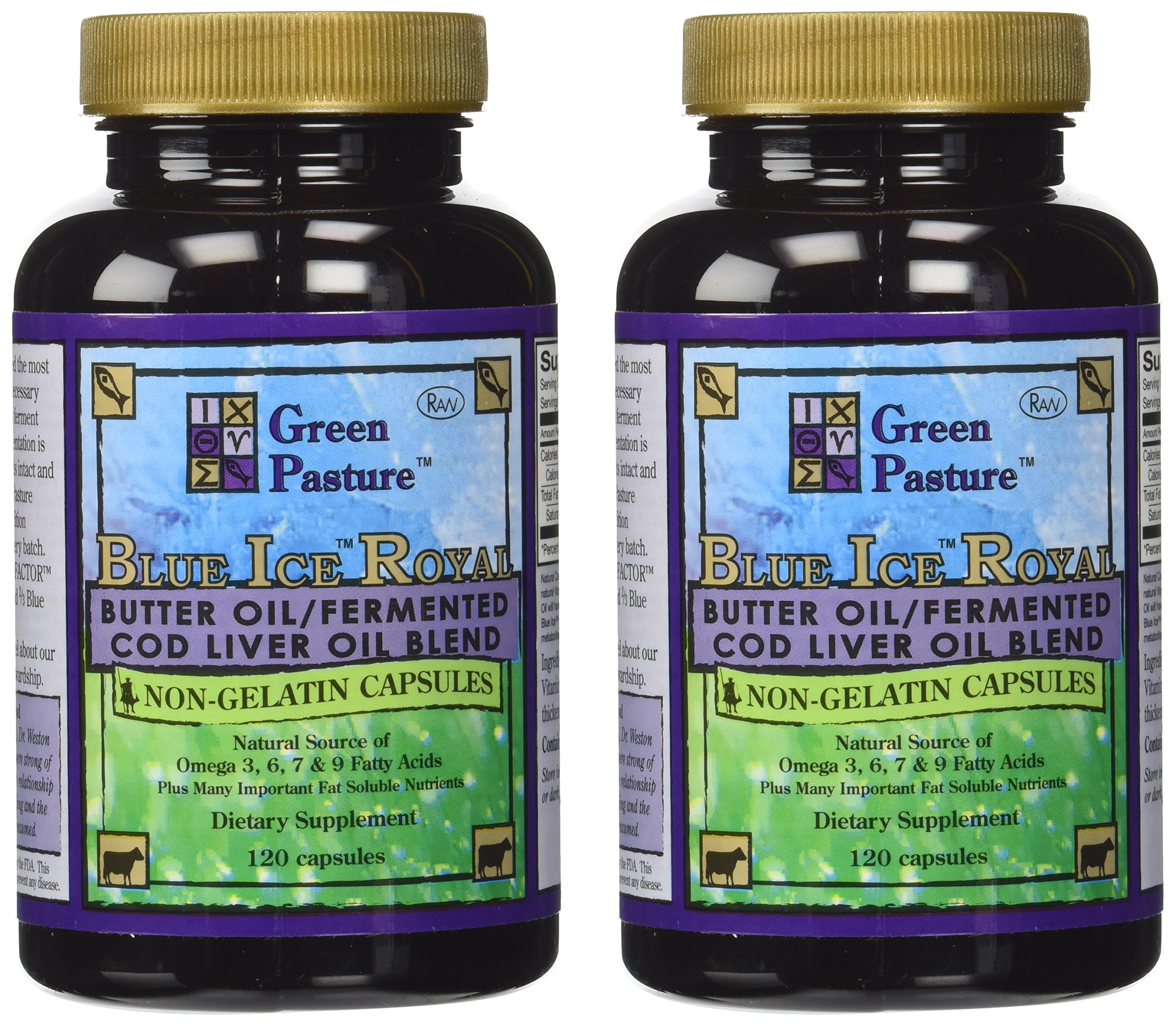 "Blue Ice Royal Butter Oil / Fermented Cod Liver Oil Blend (240 Capsules) ""2 bottles of 120 capsules"""