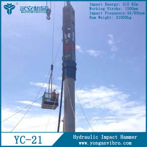 pile driver machinery Hydraulic impact hammer YC21widely applied for most types of piling and foundation works
