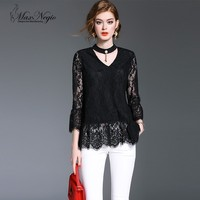 Maxnegio Lotus leaf sleeves top tee white lace t-shirts blouse neck patterns