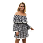 OEM ODM Custom Spring A Line Mini Gray Lace Ladies Ruffle Off Shoulder Sexy Short Plaid Dress Women