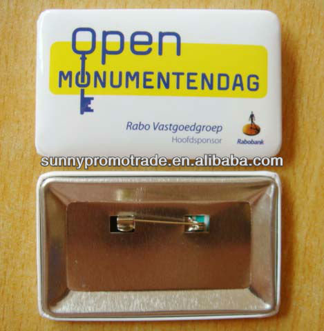 New-arrival Square/Rectangle Button Badge with Safety Pin