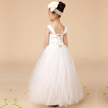 New Arrival Hand Made White Tulle Tutu Pretty Flower Girl Dresses