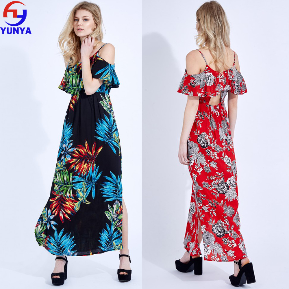 2017 trending products summer cold shoulder print frill maxi long woman dress
