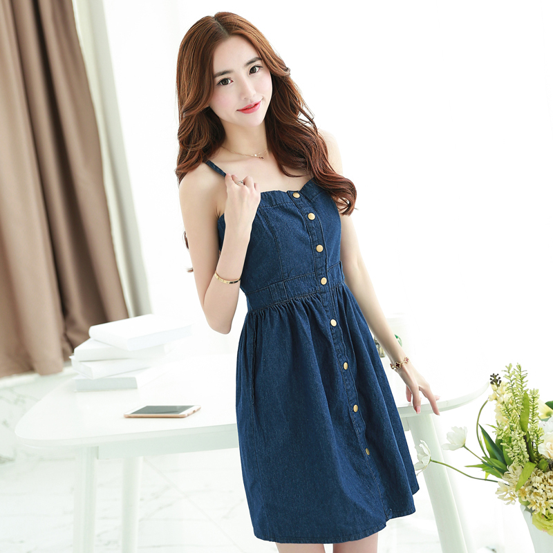 81449293532 Get Quotations · 2015 New Summer Denim Dress High Quality shoulder-straps  Blue Jeans Dress Ladies Slim Knee