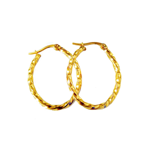 Daily Wear Stainless Steel Accessories Simple Design Thin Twrist 24k Womens Gold Hoop Earrings