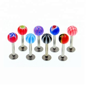 Transparent single ball acrylic lip ring 316L labret piercing jewelry