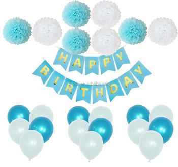 24 Pcs Blue White Pompoms Flower Balloons Happy Birthday Banner