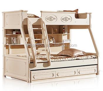 Letto A Castello In Legno Bianco.Classico Europeo Stile Rococo Bianco Puro Legno Stairway Letto A