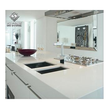 Weißer Sand Quarz Stein Countertop, Quarz Küchen Boden Preis Im