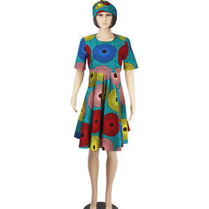African kitenge 100% cotton wax print dress designs styles for party dress