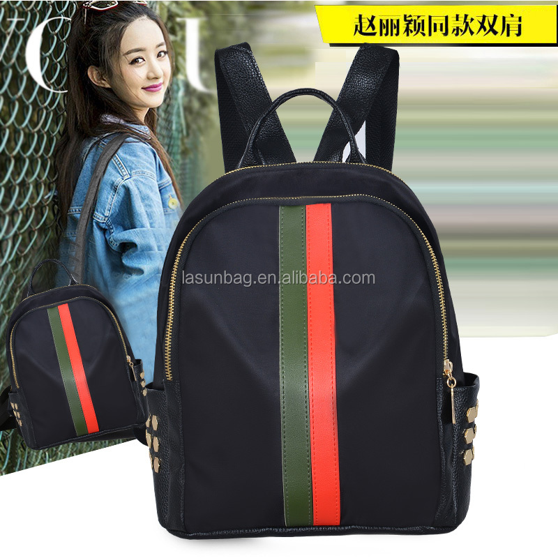 Colorful Stripes Western Style Ladies Black Nylon Faux Leather Backpacks for <strong>School</strong>