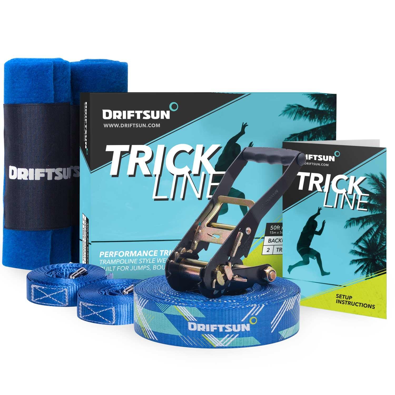 Driftsun Slackline Trick Line Complete Kit - 50FT Slacklining Trickline with Back-Up Line and Tree Guards