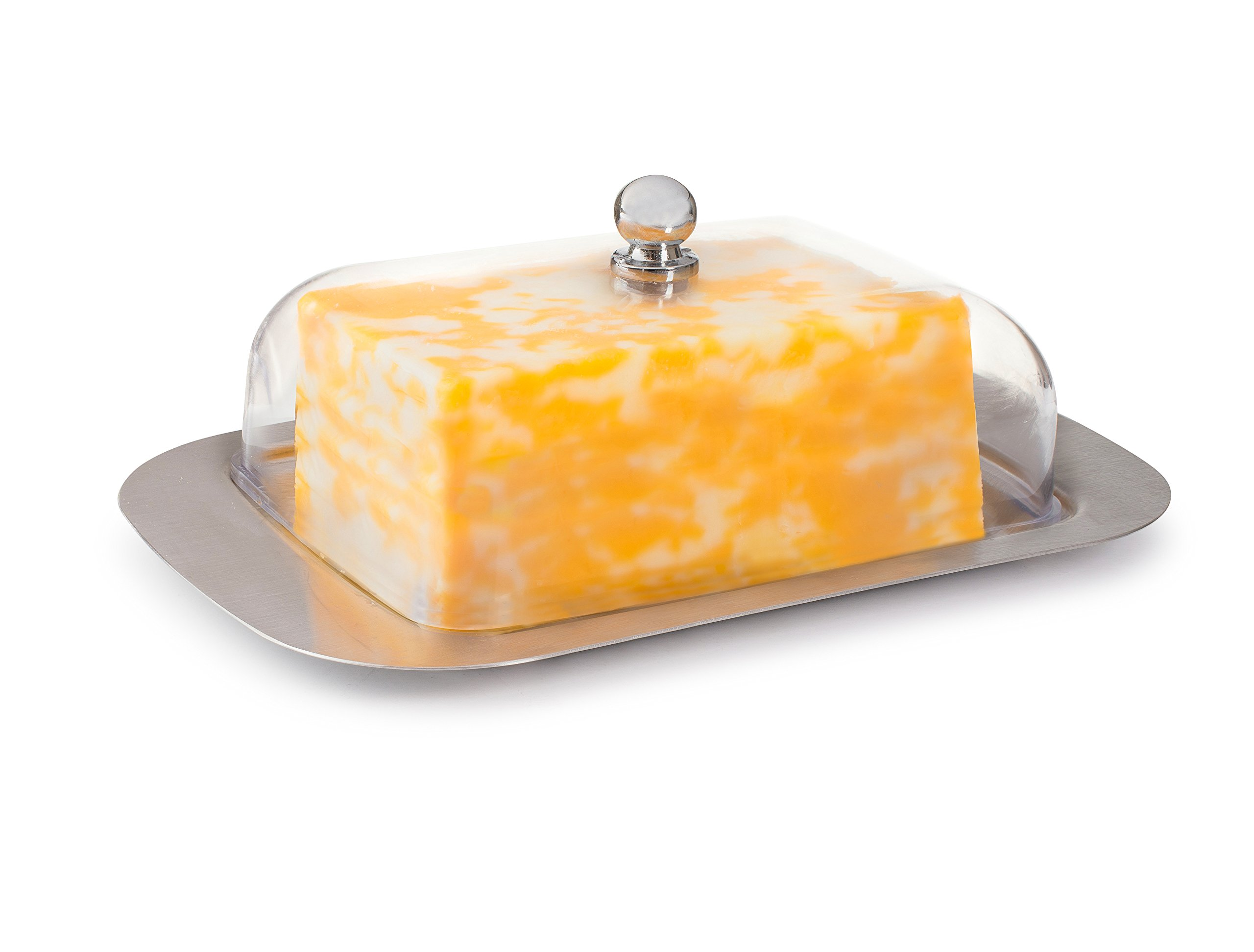 KUKPO Butter Dish - Butter Container With A Stainless Steel Butter Tray And Durable Plastic Cover, And Elegant Design, Luxury For Your Dinner Table