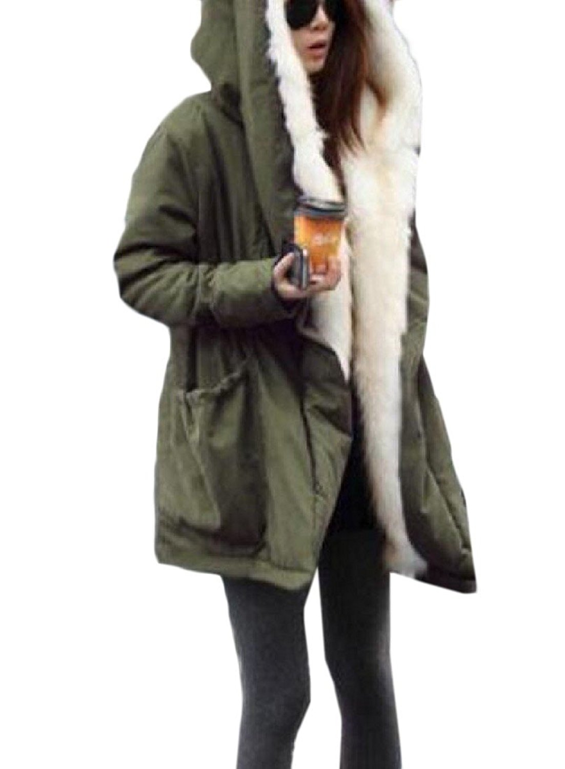 ZLSLZ Womens Ladies Winter Long Length Leopard Faux Fur Loose Luxury Parka Hooded Jacket Coat