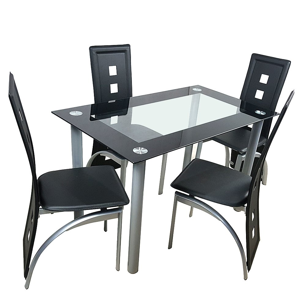 Bonnlo 5 Pieces Dining Table Set Modern Black Kitchen Dining Table and Chair Set with Glass Top and Metal Frame
