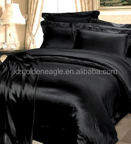 4pcs solid black satin silk bed cover sets 100 mulberry silk bedding sets