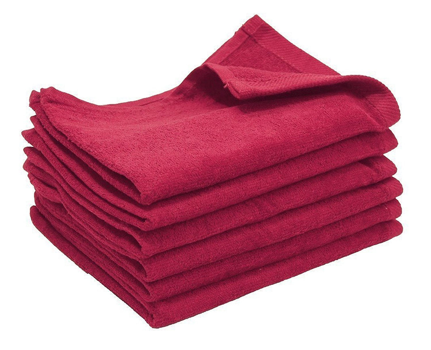Big Deal! Cotton Terry Towel, RED Color,Low Cost Bulk Towels at Wholesale Prices! (24 Count Pack) (24, RED)