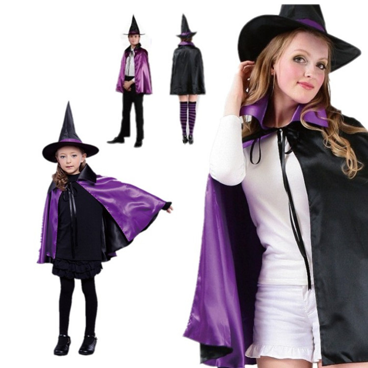 Kids Halloween Christmas Party Cloak With Hat Reversible Witch Capes Cosplay Costume