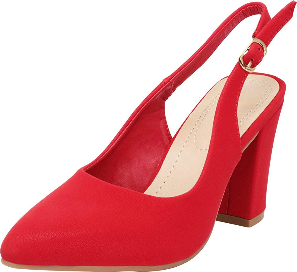 3fab6236bf6 Get Quotations · Cambridge Select Women s Closed Pointed Toe Slingback Chunky  Block Heel Pump