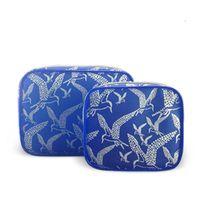 Bule trim edge plastic vinyl pvc beauty zipper cosmetic make up case