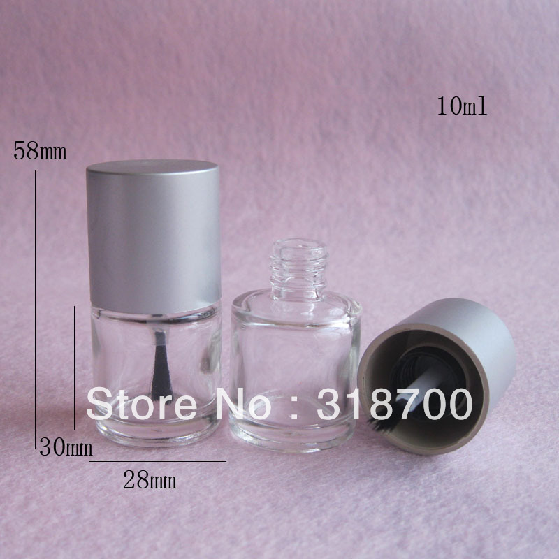 200pcs lot 10ml Empty Nail polish Bottle Transparent nail enamel bottle with silver cap 10cc nail