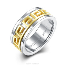 Unique Designs Wide Stainless Steel Gold Plated Male Ring Jewelry