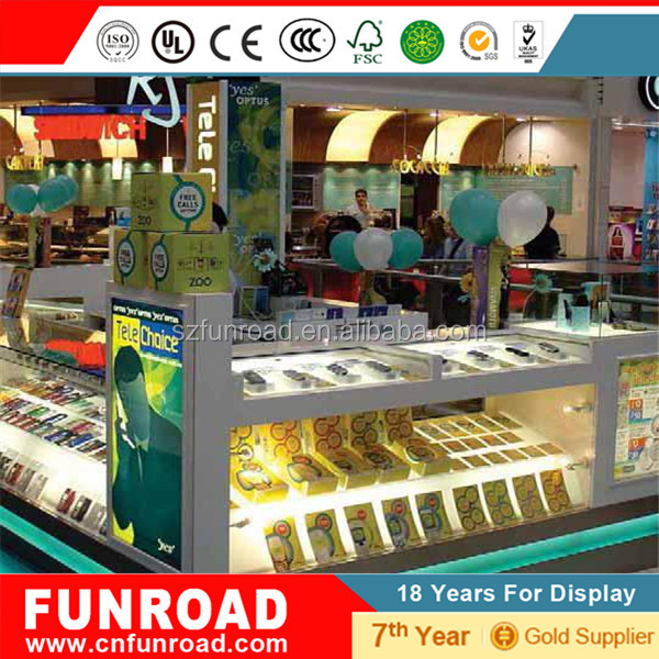 Modern Style Display Counter Design for Computer Cell Phone Electronics Shop Kiosk