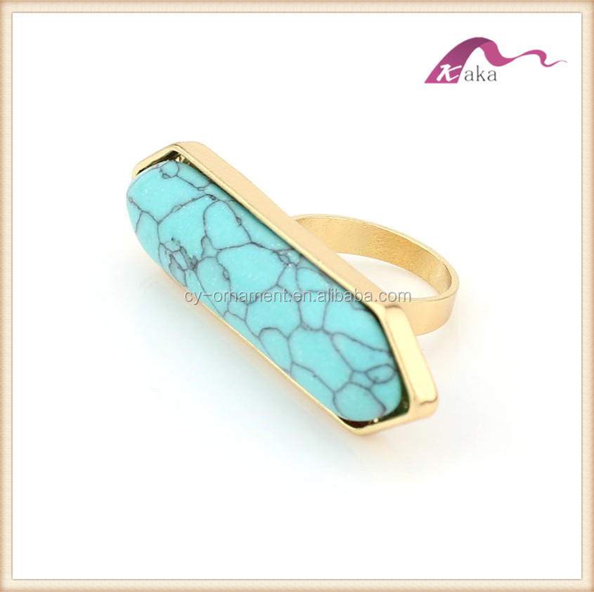Women long bar turquoise stone finger ring,fashion big gold jewerly ring for girl