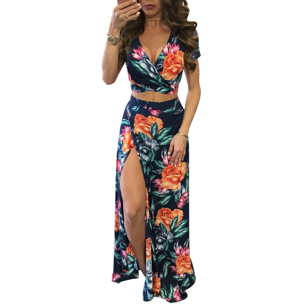 Explosions Models Sexy Deep V Split Two-piece Print Dress Boho Dress фото