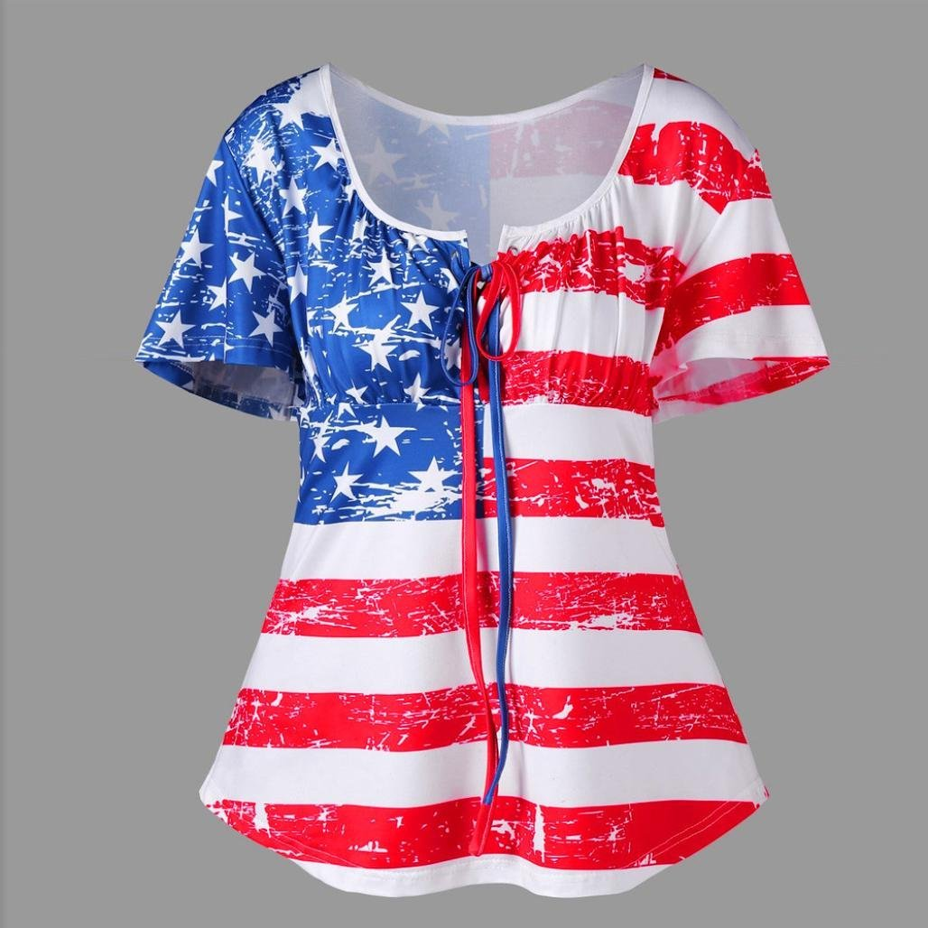 American Flag Shirts for Women Juniors Plus Size Tunic Top Short Sleeve Loose Fit Blouse Clearance Sale (4, Red)