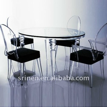 Clear Acrylic Table With 4 Chairs PMMA Furniture Part 55